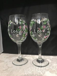 Love Heart White WIne Glasses