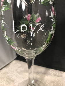 Love Heart White WIne Glasses - Ivy Cottage Art Gifts