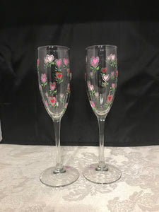 Miniature Heart Champagne Glasses - Ivy Cottage Art Gifts