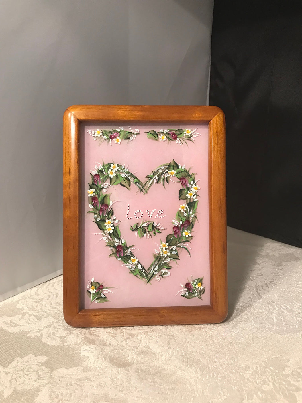 Hand Painted Framed Glass Heart - Ivy Cottage Art Gifts