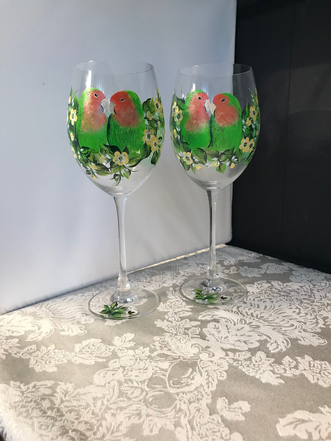 Crystal Love Bird Wine Glasses - Ivy Cottage Art Gifts