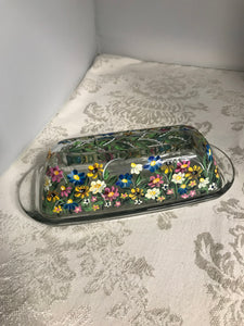 Hand Painted Wildflower Garden Butter Dish