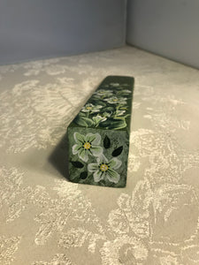 Hand Painted Green Floral Door Stop
