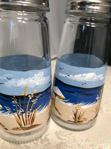 Hand Painted Salt and Pepper Shakers with Beach Scene for Beach House and Housewarming Gift