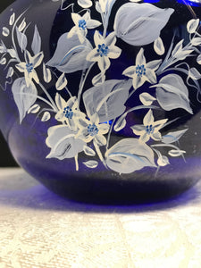 Hand Painted Blue Vase with Dove and Affirmations Faith Hope and Love for Easter Gift