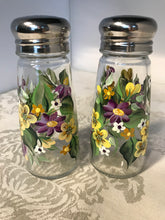 Hand Painted Salt and Pepper Shakers with Purple and Yellow Floral Design for Housewarming or Hostess Gift