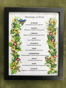 Hand Painted Meaning of Birds Framed from Ivy Cottage Art for Bird Lover's Gift and Home Decor