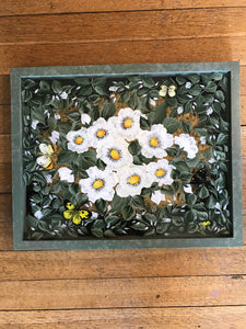 Hand Painted Framed Glass Artwork with Butterflies In White Wild Rose Garden