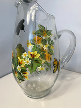 Hand Painted Fall Color Pitcher. Painted Glass Pitcher with Bird and Butterflies. Orange Color Vase with Yellow Warbler Painted Bird.