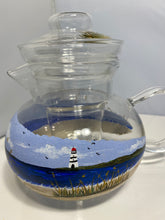 Hand Painted Beach Lighthouse Defuser Teapot. Painted Glass Lighthouse Teapot with Defuser. Beach and LighthouseTeapot. Beach Decor Gift