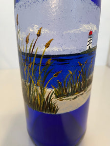 Hand Painted Lighthouse Oil Bottle. Painted Beach Oil Bottle. Blue Oil Bottle with Lighthouse.