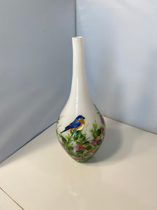 Hand Painted White Vase. Bluebird Vase with Cone Flowers. Painted Floral Vase.