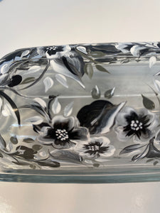 Hand Painted Black and White Butter Dish. Butter Dish with Black and White Flowers.
