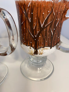 Hand Painted Winter Scene Coffee, Cappuccino or Hot Cocoa Glass Mugs. Holiday Gift. Christmas Gift.