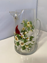 Hand Painted Cardinal Pitcher.  White Floral Design Pitcher with Red Cardinal