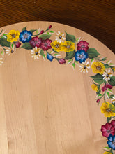 Hand Painted Wood Turntable. Painted Turntable with Colorful Floral Design. Large Turntable with Floral Painted Design.