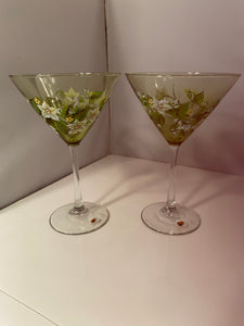 Hand Painted Martini Glasses. Green Glass Martini Glasses. Painted Martini Glasses with Floral Design