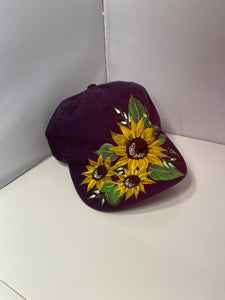 Hand Painted Sunflower Cap. Navy Blue Painted Cap. Sun Visor with Sunflower Painting. Baseball Cap with Sunflowers. Painted Navy Blue Cap.