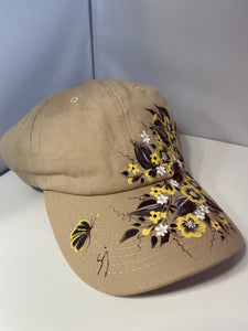 Hand Painted Beige Baseball Cap. Painted Adjustable Sun Visor Cap. Beige Black and Yellow Floral Cap. Painted Cap for sun and Beachwear.