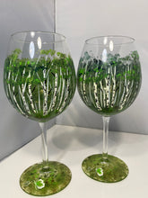 Hand Painted Birch Tree Wine Glasses. Wine Glass with Birch Trees. Painted Birch Tree Forest on Wine Glass. White Trees on Wine Glass.
