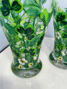 Hand Painted Pilsner Glasses. Irish Beer Glasses. Beer Glasses with Shamrocks. Irish Pilsner Glasses. Beer Glasses for St. Patrick's Day.