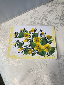 Hand Painted Blank Greeting Cards with Floral Design for Friendship, Birthday, Thank You, and All Occasions