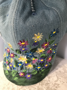 Hand Painted Denim Baseball Cap with Wildflower Design for Vacation, Beach, and Summer Wear