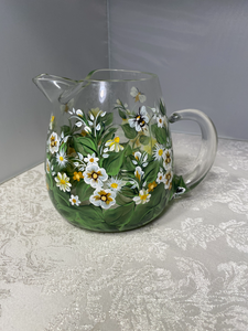 Hand Painted White Floral Design Pitcher with Bumble Bees. Painted Glass Pitcher. Unique Art White Floral and Bumble Bee Pattern Pitcher.