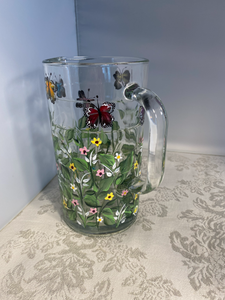 Hand Painted Butterfly Pitcher with Garden Design for Shower, Birthday, Anniversary or All Occasion Gift. Glass Pitcher.