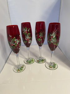 Christmas Champagne Glasses. Holiday Flute Champagne Glasses. Red Champagne Holiday Glasses. Christmas Holly Champagne Glasses.