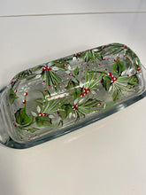 Hand Painted Christmas Butter Dish with Holly Design. Holiday Glass Butter Dish. Holiday Holly Glass Butter Dish. Hostess Christmas Gift.
