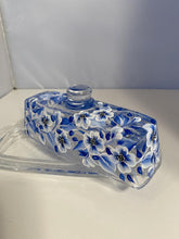 Hand Painted Blue and White Narrow Butter Dish. Blue Floral Glass Butter Dish. Painted Blue Butter Dish with Handle.