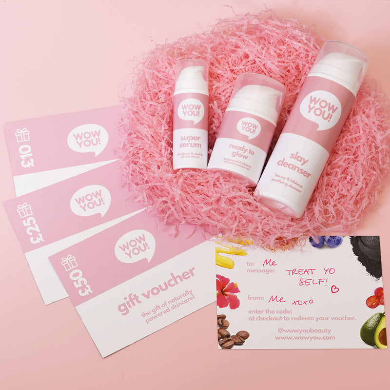 WOW YOU gift voucher and collection of skincare products