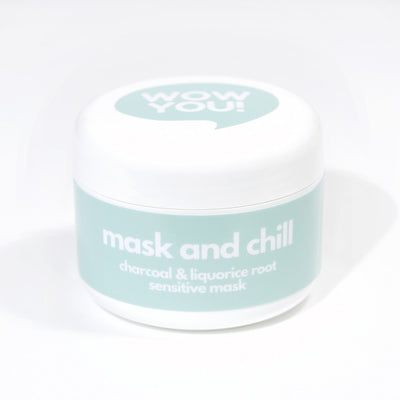 WOW YOU Mask and Chill™ is a Sensitive Charcoal & Liquorice Natural Mud Mask