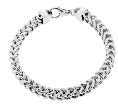 hollow white gold inches mm link franco mens bracelet real