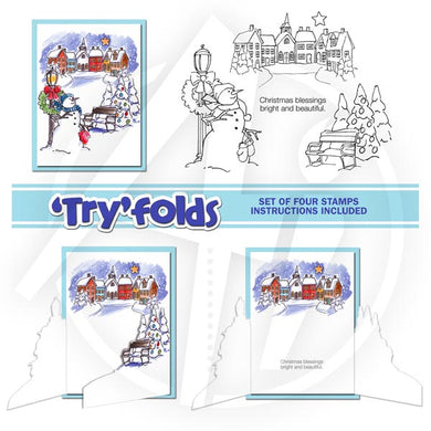 Art Impressions Rubber Stamp Tryfold - Snowy Village Set
