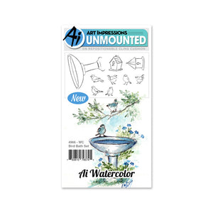 Art Impressions Watercolor Rubber Stamp - Bird Bath Set
