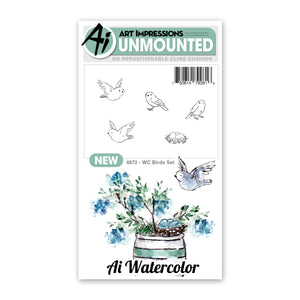 Art Impressions Watercolor Rubber Stamp - Birds Set