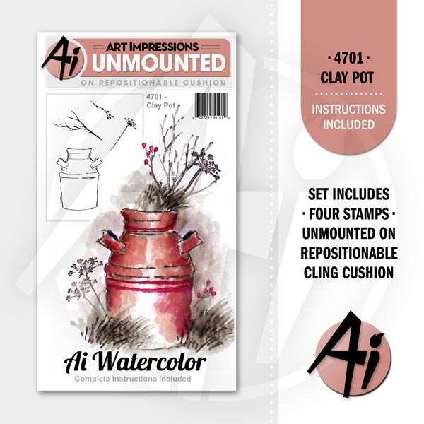 Art Impressions Watercolor Rubber Stamp - Clay Pot