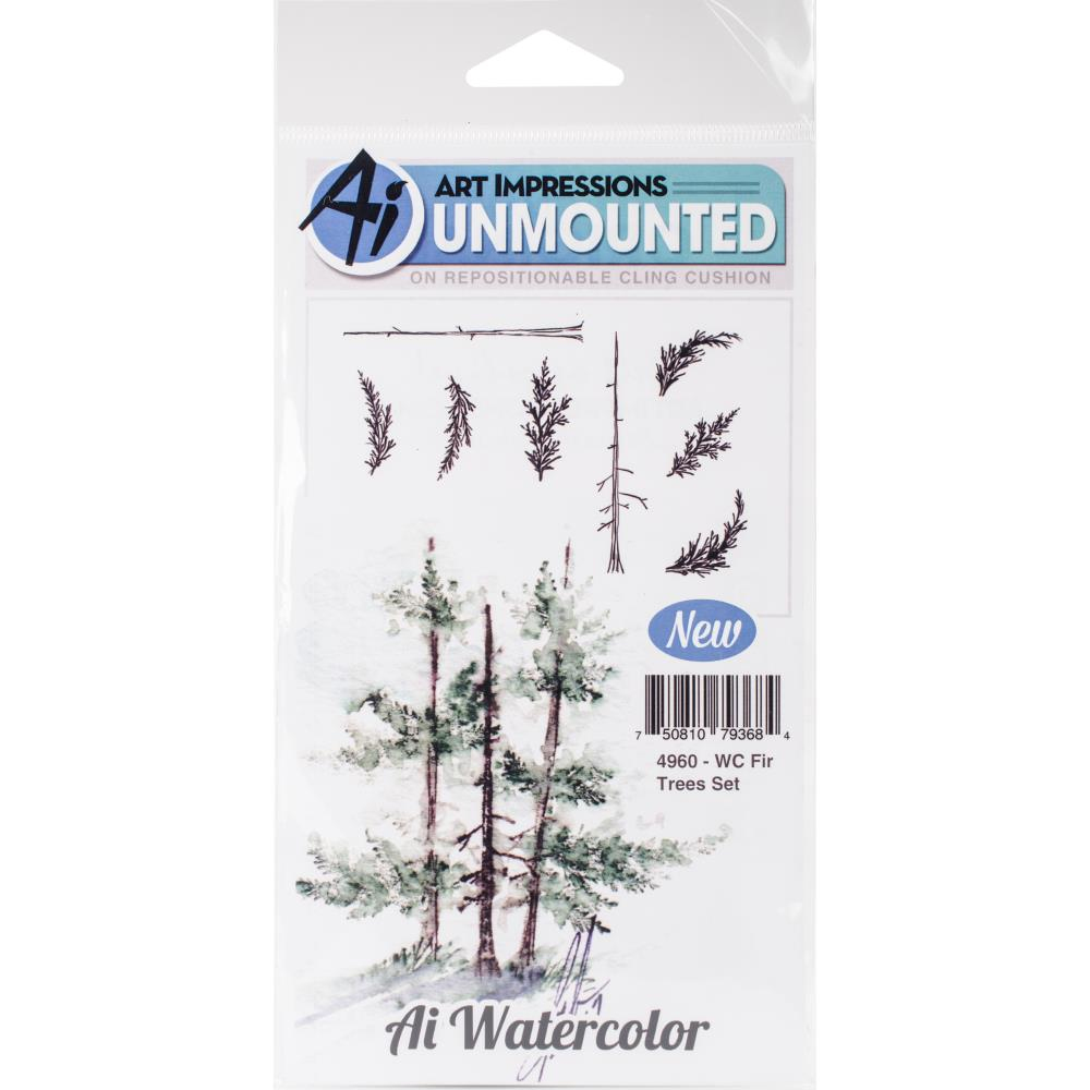 Art Impressions Watercolor Rubber Stamp - Fir Trees Set