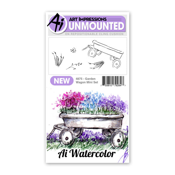 Art Impressions Watercolor Rubber Stamp - Garden Wagon Mini Set