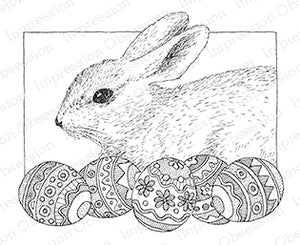 Impression Obsession Rubber Stamp - Bunny with Eggs