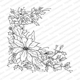 Impression Obsession Rubber Stamp - Poinsettia Sketch