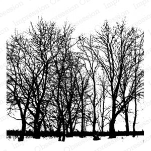 Impression Obsession Cover-A-Card Rubber Background Stamp - Tree Line