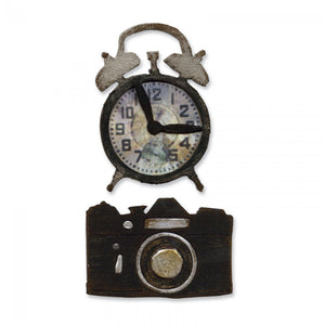 Tim Holtz Alterations Movers & Shapers Die by Sizzix - Vintage Alarm Clock & Camera