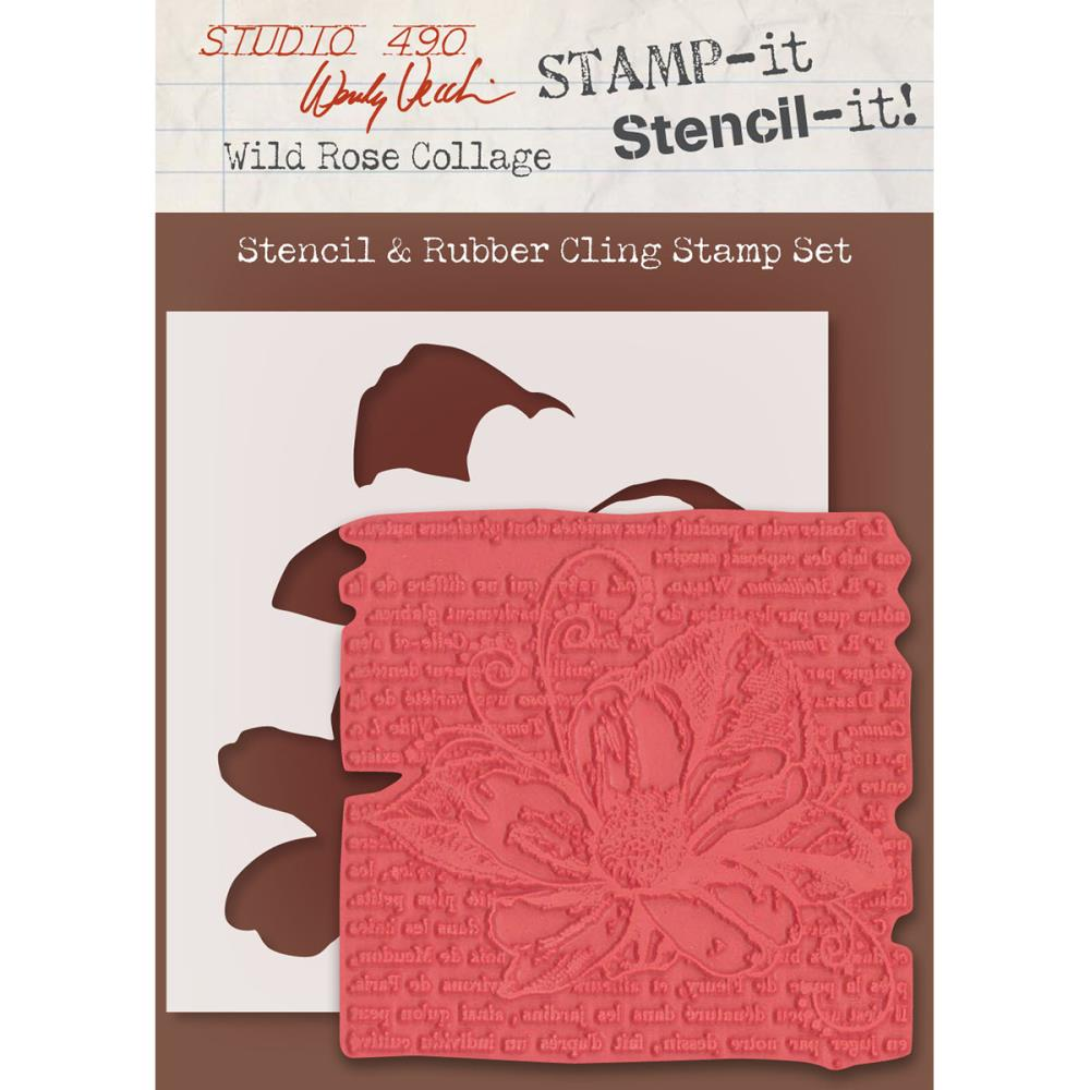 Wendy Vecchi Studio 490 Stamp-it Stencil-it - Wild Rose Collage