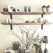 Shabby Chic Lipped Metal Bracket Thin Shelves | 15cm Depth