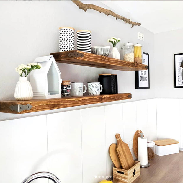 Rustic Floating Shelf with Metal Arrowhead Corners | 22cm Depth