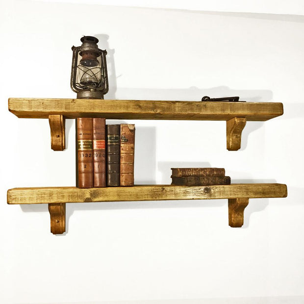 Rustic Wooden Bracket Shelf