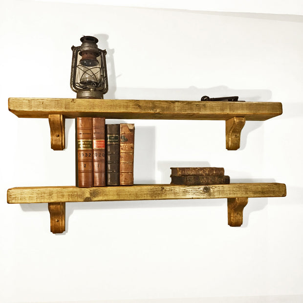 Rustic Wooden Bracket Shelf | 22cm Depth